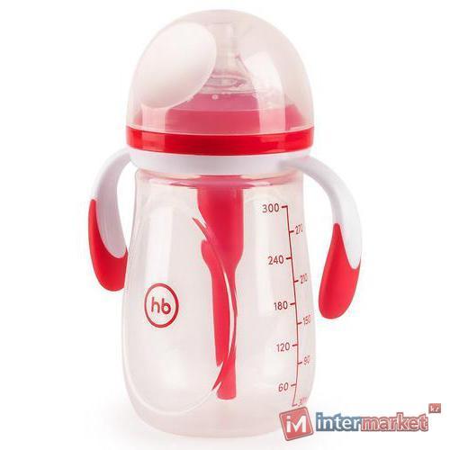 Бутылочка Happy Baby антиколиковая с ручками и силиконовой соской 300 мл 10020 Ruby