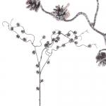 Декорация Веточка с шишками коричневая заснеженная 34х95см