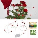 Гирлянда нить 1м красная Сердечки кабель прозрачный батарейки 15 диодов LED